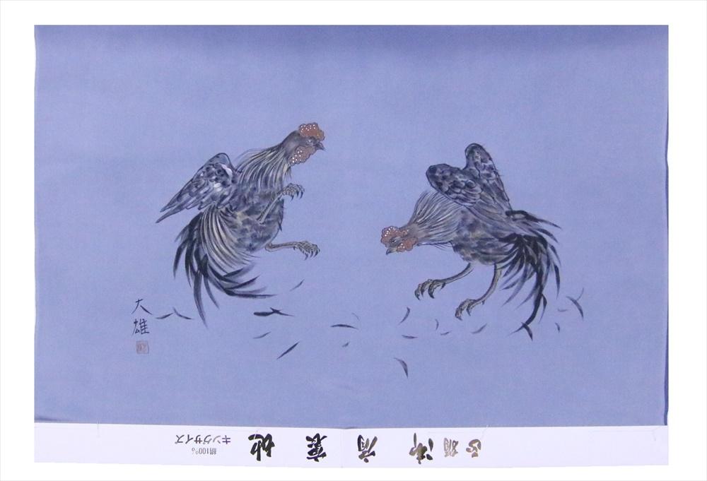 額裏(がくうら) gu-22 闘鶏柄・ブルー地