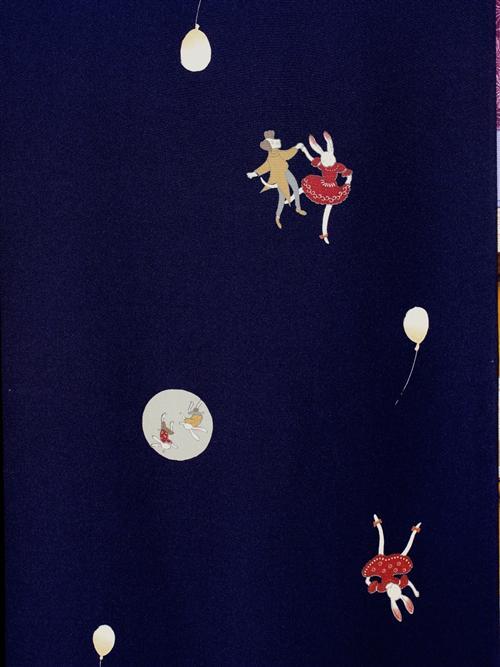 ウサギのダンス柄nj-26 紺地・長襦袢