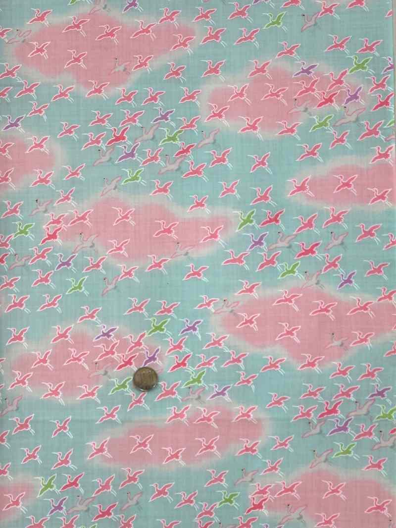鶴雲柄・水色ピンク地 子ども用長襦袢地 nj-119