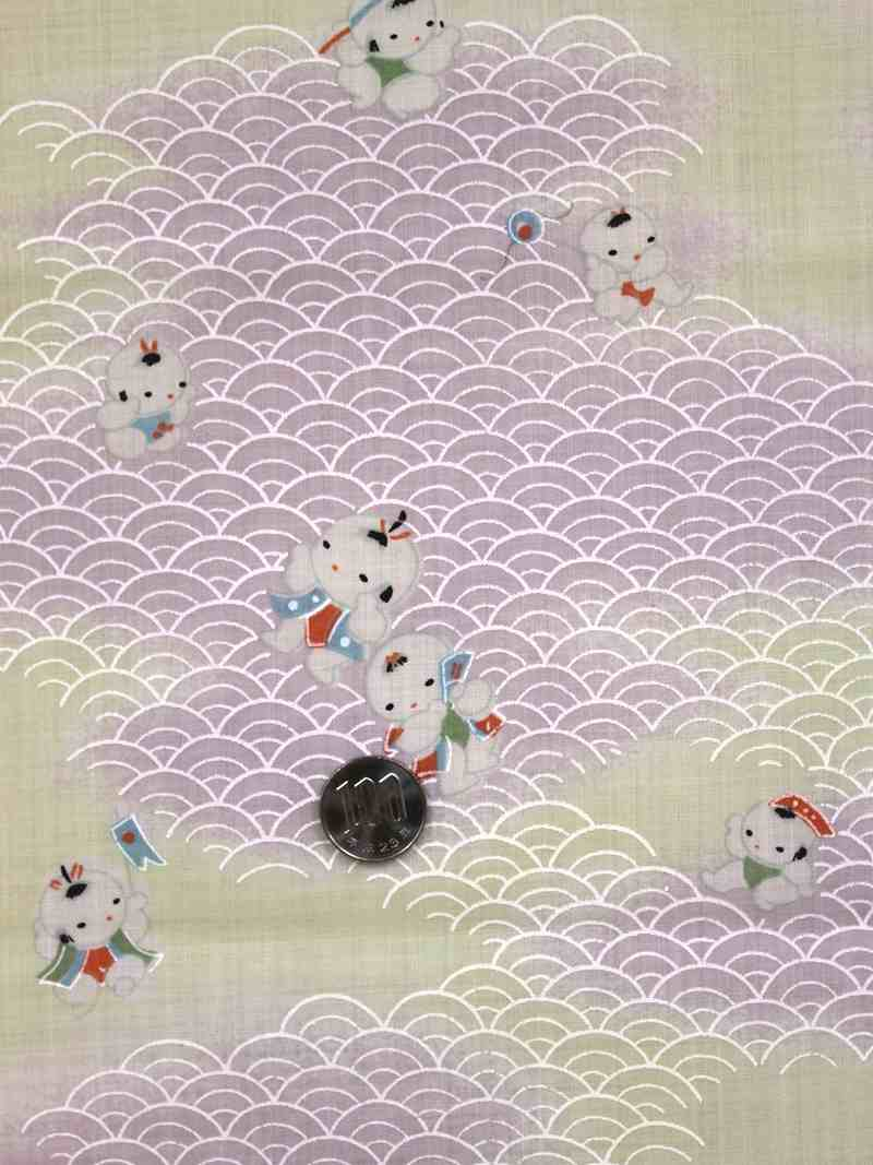 もすりん長じゅばん反物 唐子人形柄・薄紫ベージュ色nj-106 毛斯長襦袢