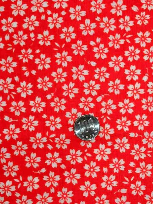 長襦袢反物 nj-108 赤地・小桜柄