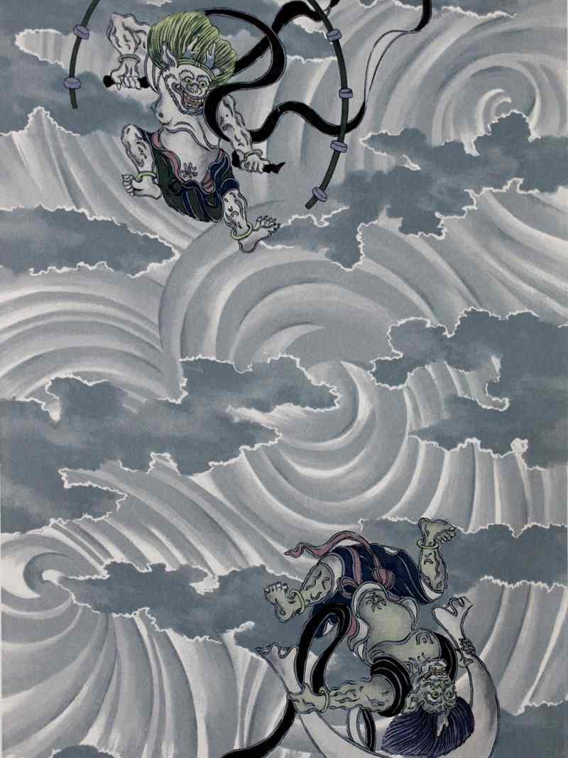 風神雷神柄 長襦袢生地 nj-32 男物裏地・ブルー地