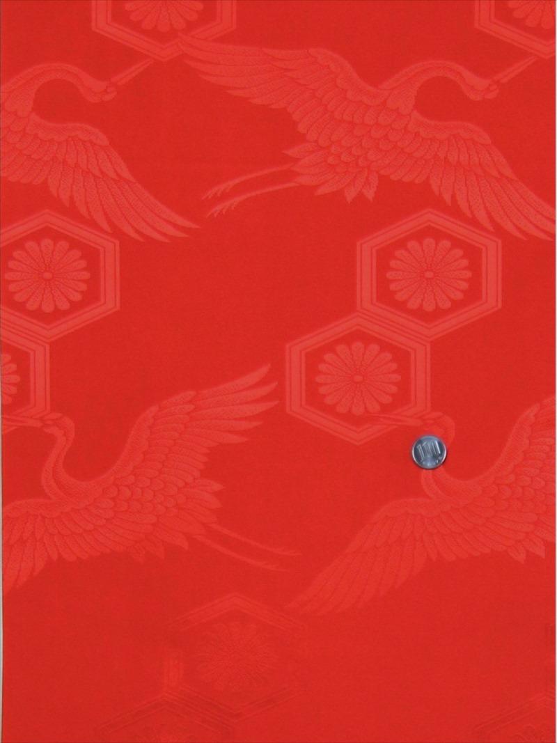 洗える 長襦袢 反物 nj-3 赤無地・鶴・亀甲・菊柄