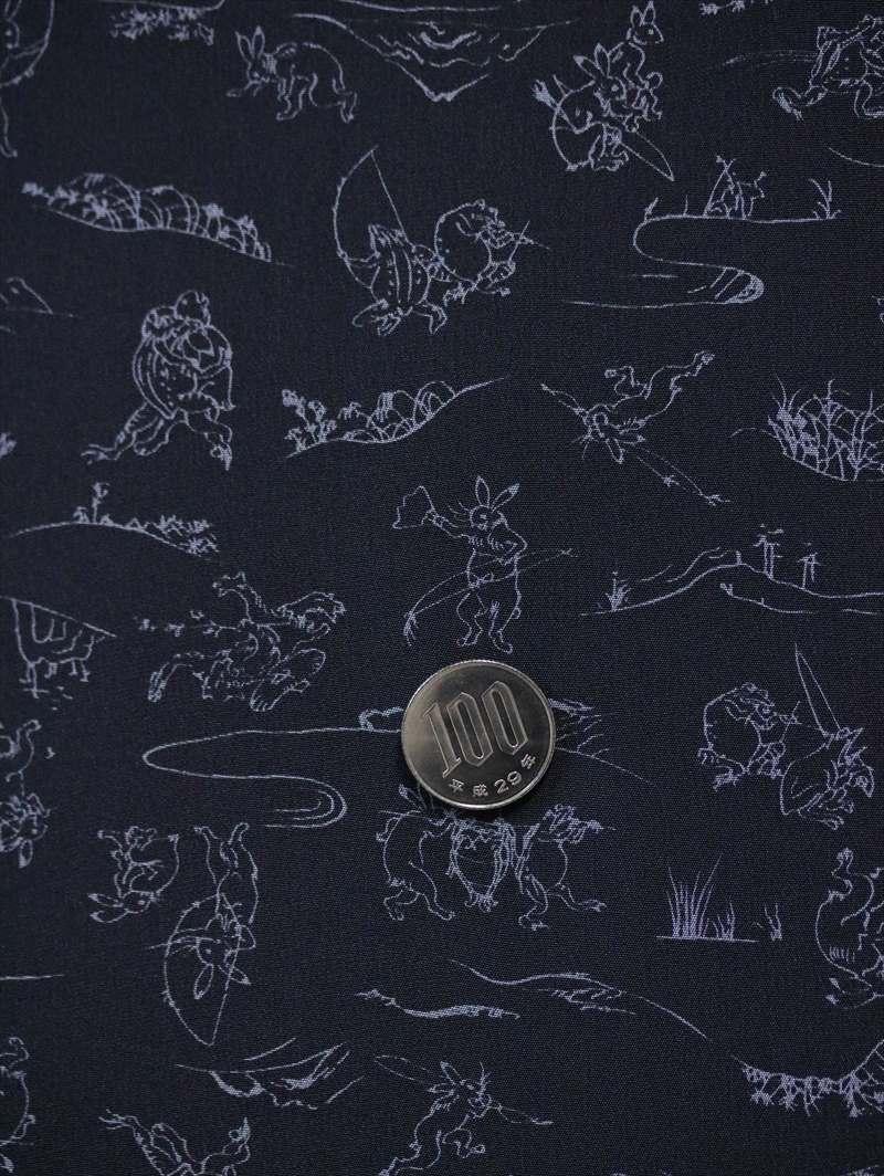 メンズ長襦袢反物 nj-34 黒地・鳥獣戯画柄