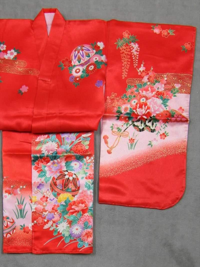 女児着物(3才)B品・753-103 赤オレンジ色・マリ・花柄
