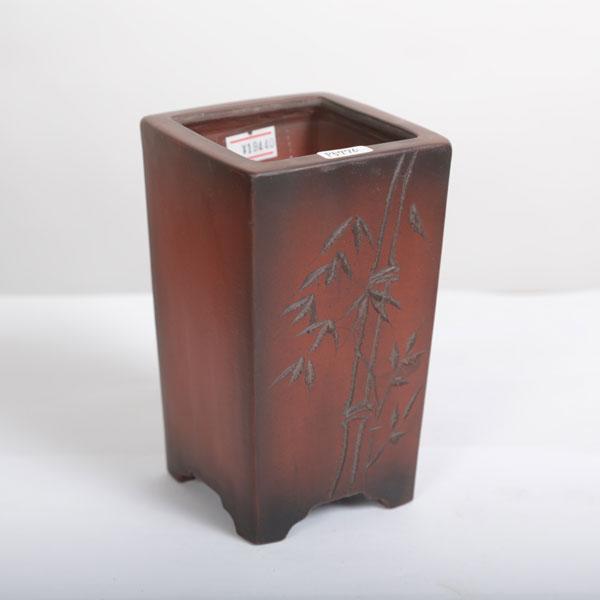 美芸(常滑)正角ケンガイ鉢彫入 9cm【現】
