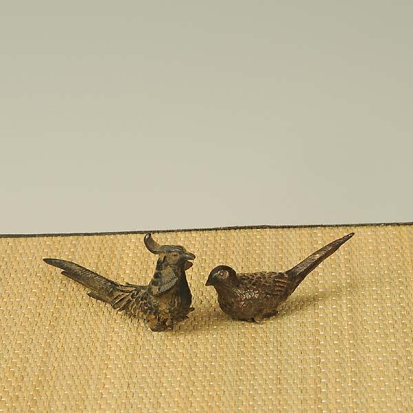 添景:銅製漆塗り 錦鶏一対(キンケイ)