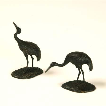 添景:銅製漆塗り 鶴一対