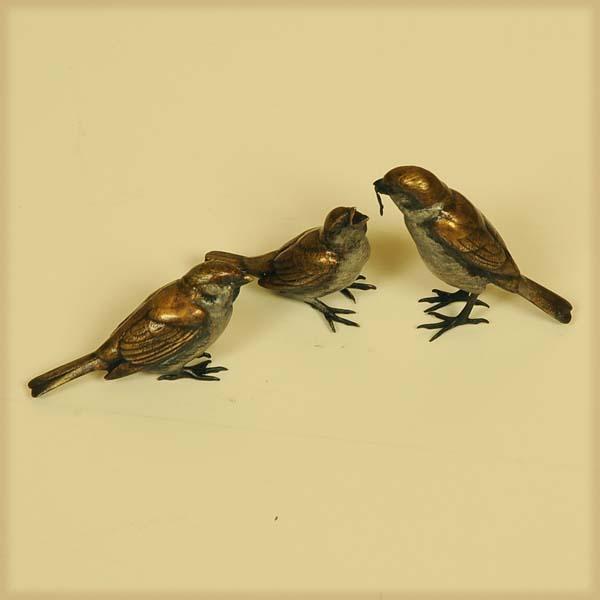 最高級銅製添景:雀の親子*【現】