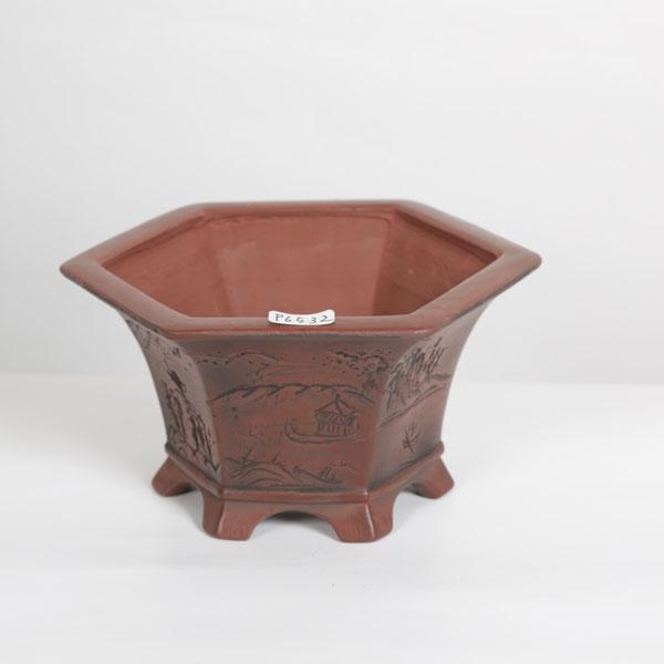供え 盆栽小鉢:美芸 ※アウトレット品 常滑 古渡写六角体 4号 15.5cm