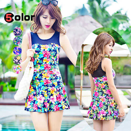 Women's swimwear BBW MOM tankini all-in-one UV cut dress floral botanical neon ethnic exotic body cover large and voluptuous, and L-5 XL