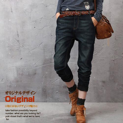 オリジナルデザイン 秋新作 大人可愛い ナチュラル ウォッシュ加工 色褪せ加工 八分丈 半端丈 バックベルト インディゴデニム 裾くしゅジーンズ