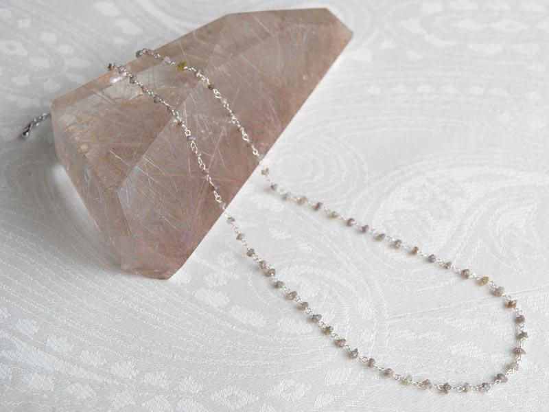 ダイヤモンドショートネックレス(ブラウン系)