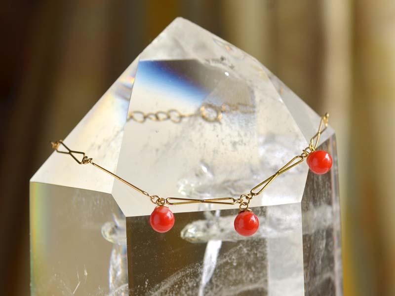 K18チエーン+血赤丸珠ブレス