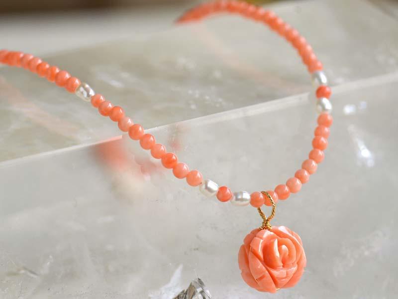 ピンク珊瑚・淡水ネック+K18バラトップ