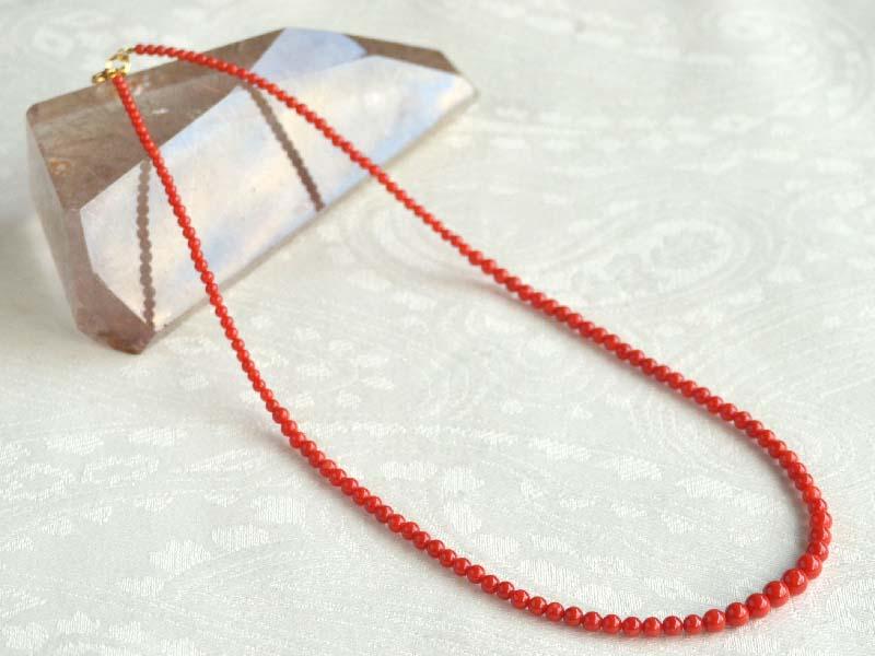 18金胡渡りサンゴ2.5~6mmネックレス・45cm