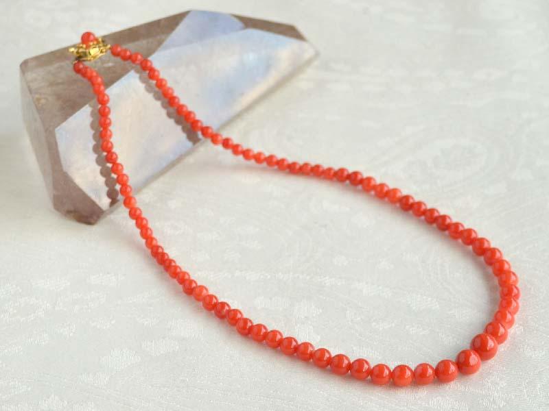 14金赤珊瑚(8.3~4mm)グラデーションネックレス