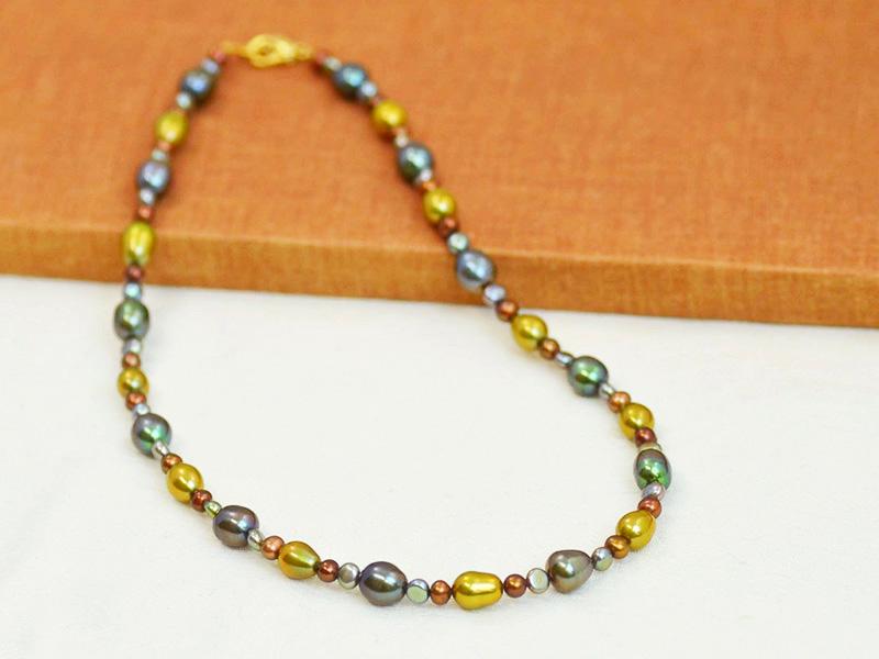 グリーン ゴールド ブラウン 淡水 再入荷 予約販売 ネックレス 真珠 公式通販 送料無料 ミックスカラー