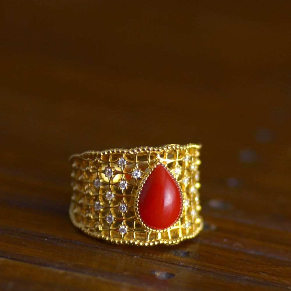 K18ダイヤ入り血赤珊瑚リング