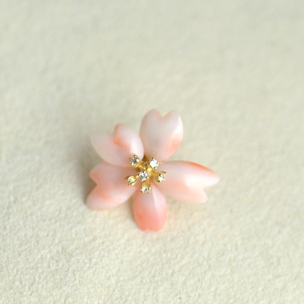K18(つや消し)ピンク珊瑚ダイヤ入りピンブローチ