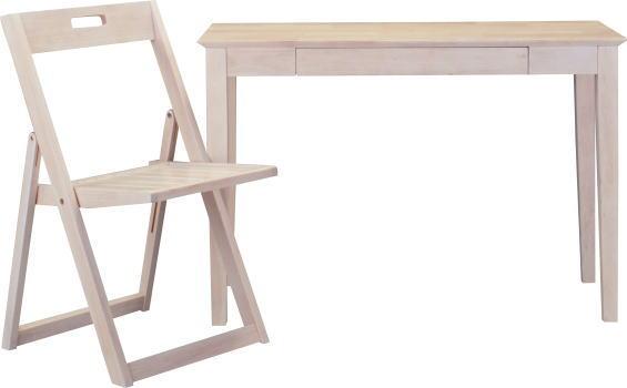 【大型商品】 105幅デスクとイス2点セット、椅子のみ折り畳み式067701ホワイトウォッシュ