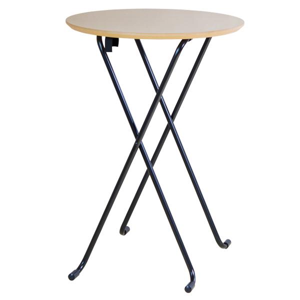 【大型商品】 折りたたみハイテーブル丸型 W83T ナチュラル