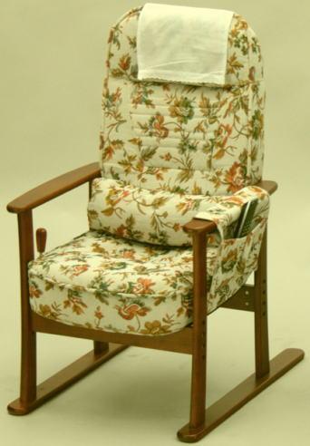 【大型商品】 肘付高座椅子ベージュフラワー83-884