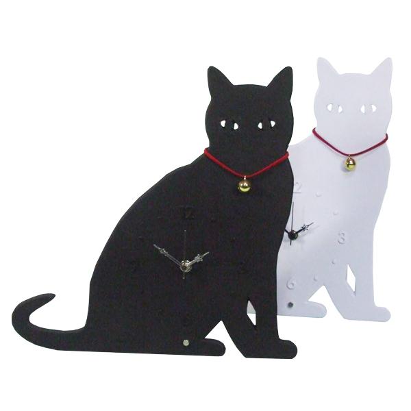 猫のシルエットがかわいい置き時計 キャッツアイ 72