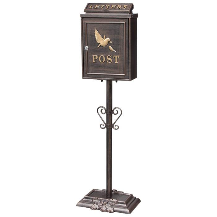 鋳物 ポストスタンド 鳥の親子 GBR  <ポスト 玄関 郵便受け 郵便ポスト ガーデン メールボックス レターボックス アンティーク 手紙 郵便 はがき ハガキ 軒先 鳥 とり bird>