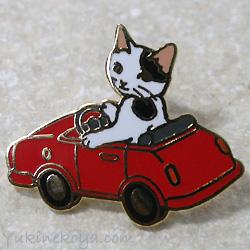 トートバッグやポーチに付けて私だけのオリジナルに 猫ピンズ ミニカー 白黒猫 ポタリングキャット ピンバッチ ねこ 猫雑貨 商店 ネコグッズ 今ダケ送料無料 ステーショナリー 文房具 キャット