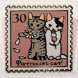 トートバッグやポーチに付けて私だけのオリジナルに 猫ピンズ ●日本正規品● 花占い お見舞い ポタリングキャット ピンバッチ 文房具 キャット 猫雑貨 ねこ ネコグッズ ステーショナリー