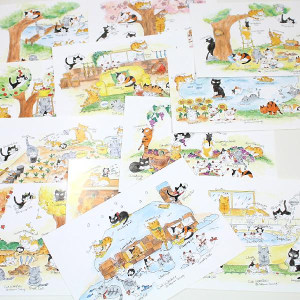Takagi, Akemi Cat World cat postcard set of 12