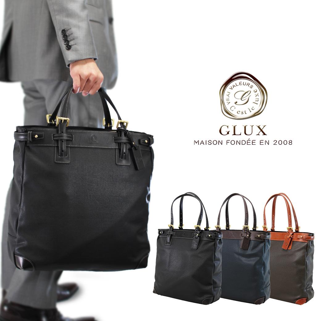 トートバッグ メンズ 大きめ ブランド 縦型 GLUX グラックス 革付属コンビ A4 ノートPC対応 軽量 メンズバッグ バッグ プレゼント メンズトートバッグ