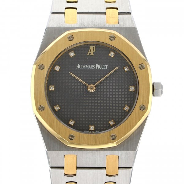 オーデマ・ピゲ AUDEMARS PIGUET ロイヤルオーク クォーツ SA6303/789 ブラック文字盤 レディース 腕時計 【中古】