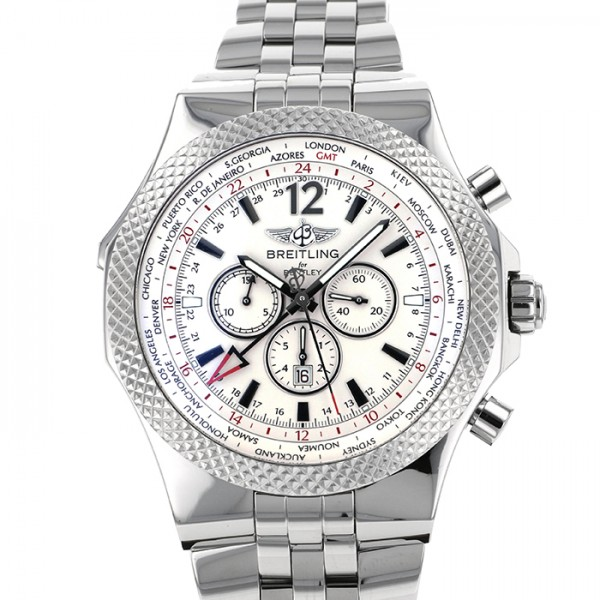 腕時計 【中古】 GMT メンズ ベントレー シルバー文字盤 BREITLING ブライトリング A476G57SGS