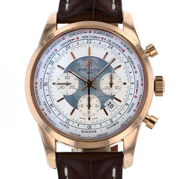 ブライトリング BREITLING トランスオーシャン クロノグラフ ユニタイム R050A33WBD ホワイト文字盤 メンズ 腕時計 【中古】