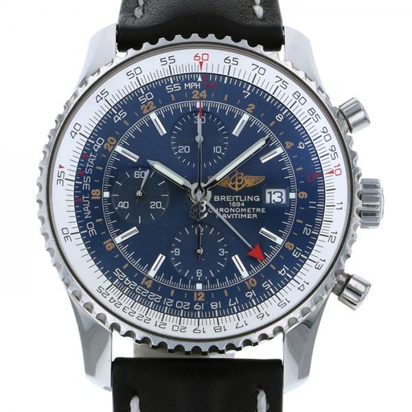 ブライトリング BREITLING ナビタイマー ワールド A24322 ブルー文字盤 メンズ 腕時計 【中古】