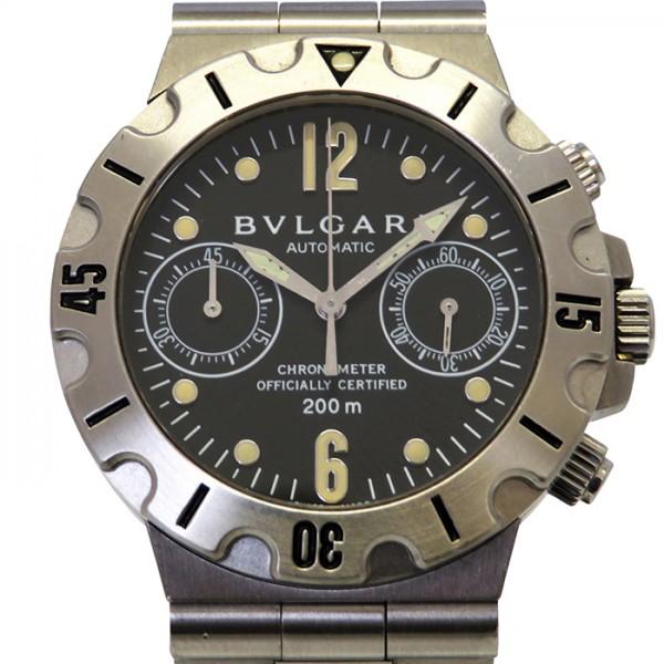ブルガリ BVLGARI ディアゴノ スクーバ SCB38S ブラック文字盤 メンズ 腕時計 【中古】