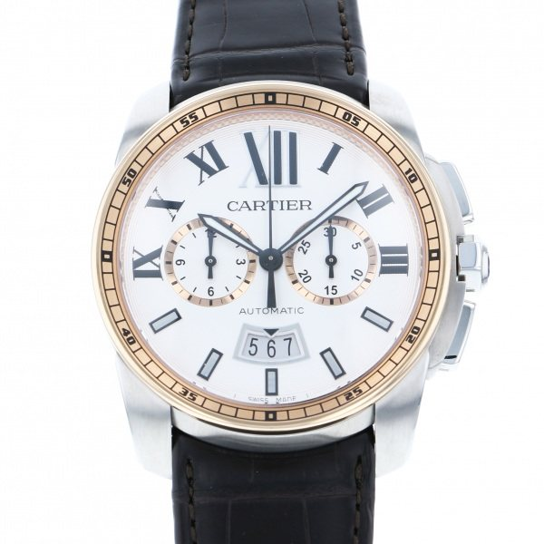カルティエ CARTIER カリブル ドゥ カルティエ クロノグラフ W7100043 ホワイト文字盤 メンズ 腕時計 【新品】