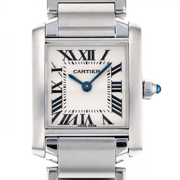 カルティエ CARTIER タンク フランセーズSM W51008Q3 ホワイト文字盤 レディース 腕時計 【中古】