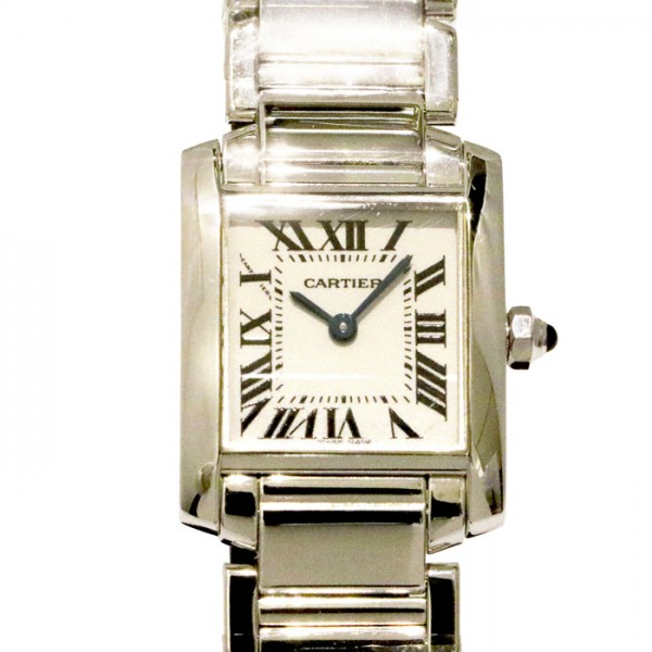 カルティエ CARTIER タンクフランセーズ SM W50012S3 ホワイト文字盤 レディース 腕時計 【中古】