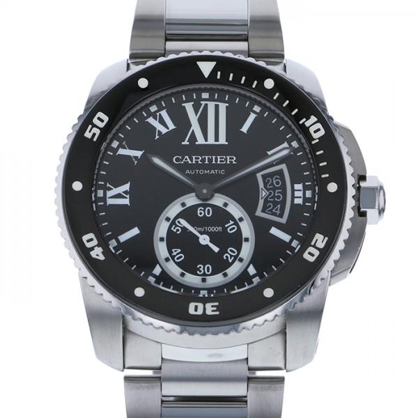 カルティエ CARTIER カリブル ドゥ カルティエ ダイバー W710057 ブラック文字盤 メンズ 腕時計 【中古】