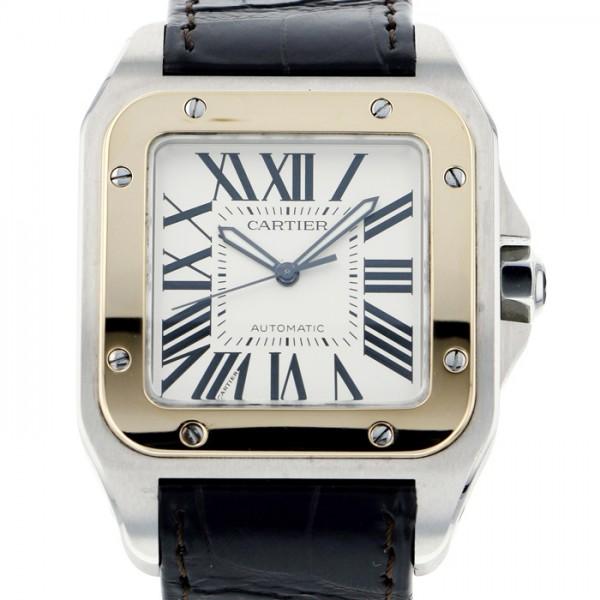 カルティエ CARTIER サントス 100 W20072X7 ホワイト文字盤 メンズ 腕時計 【中古】