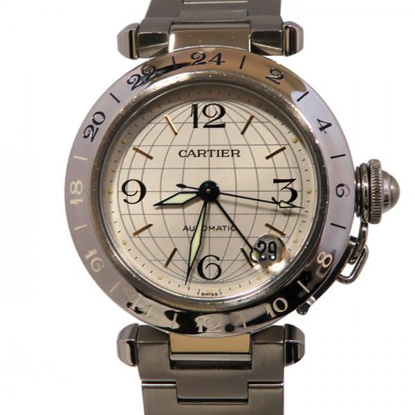 カルティエ CARTIER パシャ C メリディアン GMT W31029M7 シルバー文字盤 メンズ 腕時計 【中古】