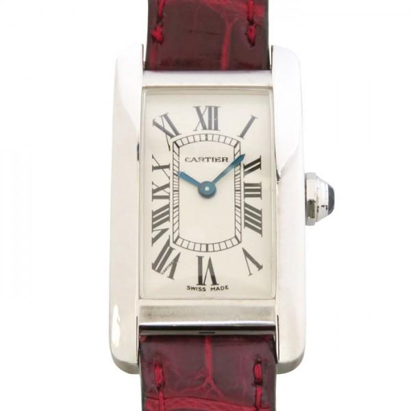 【期間限定ポイント5倍 5/5~5/31】 カルティエ CARTIER タンク アメリカンSM W2601956 シルバー文字盤 レディース 腕時計 【中古】