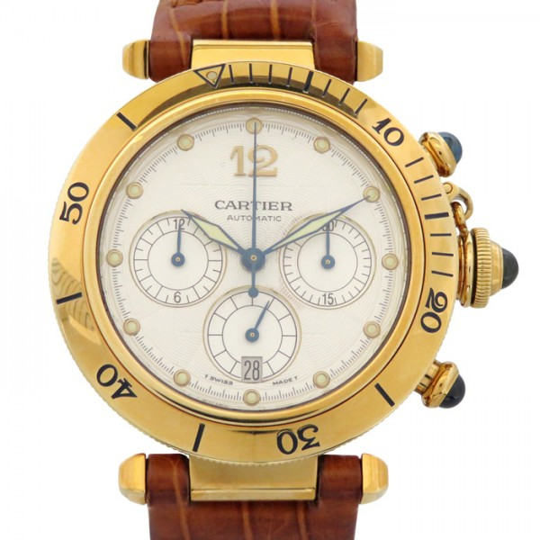 カルティエ CARTIER パシャ 38 クロノグラフ - シルバー文字盤 メンズ 腕時計 【中古】