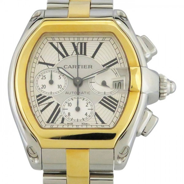 カルティエ CARTIER ロードスター クロノグラフ W62027Z1 シルバー文字盤 メンズ 腕時計 【中古】