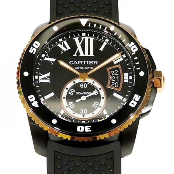 カルティエ CARTIER カリブル ドゥ カルティエ ダイバー カーボン W2CA0004 ブラック文字盤 メンズ 腕時計 【新品】
