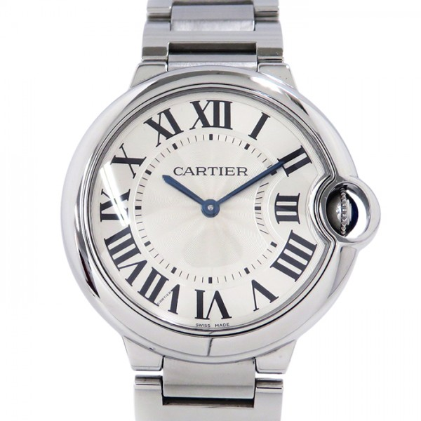 カルティエ CARTIER バロンブルー MM W69011Z4 シルバー文字盤 メンズ 腕時計 【中古】