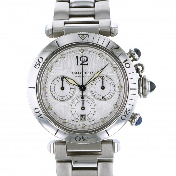 【全品 ポイント10倍 4/9~4/16】カルティエ CARTIER パシャ クロノグラフ W31030H3 シルバー文字盤 メンズ 腕時計 【中古】